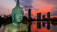 Buddha statue, Seema Malaka Temple, Beira Lake, Colombo, Sri Lanka.