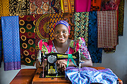 ICS volunteers visiting Upendo enterprise, a local garment making company, part of the VSO / ICS Elimu Fursa project (Opportunities in Education) Lindi, Lindi region. Tanzania.