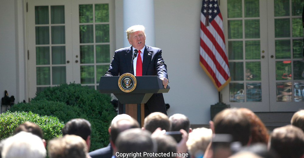 President Donald Trump announcesw his decision on the Paris Agreement.  The announcement was made in the White House Rose Garden on May 31, 2017 <br /><br />Photo by Dennis Brack