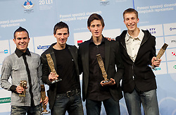 Ski jumpers Jernej Damjan, Robert Kranjec, Peter Prevc and Jurij Tepes as best team at Slovenian Sportsman of the year and Slovenian Sportswoman of the year 2011 annual awards presented on the base of Slovenian sports reporters, on December 21, 2011 in Cankarjev dom, Ljubljana, Slovenia. (Photo By Vid Ponikvar / Sportida.com)