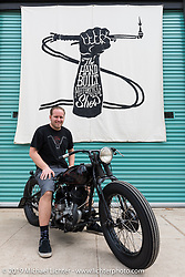 Harley-Davidson motorcycle designer Casey Ketterhagen with his 1931 custom Harley-Davidson VL on Sunday at the Handbuilt Motorcycle Show. Austin, TX. April 12, 2015.  Photography ©2015 Michael Lichter.