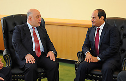 September 20, 2016 - New York, New York, United States of America - Egyptian President Abdel-Fattah El-Sisi meets with Iraqi Prime Minister Haider al-Abadi at the United Nations Headquarters in New York, U.S., where they are attending the UN General Assembly on Sep. 20, 2016  (Credit Image: © Egyptian President Office/APA Images via ZUMA Wire)