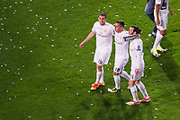 Real Madrid's players Mateo Kovacic, Lucas Vazquez and Gareth Bale during the celebration of the victory of the Real Madrid Champions League at Santiago Bernabeu in Madrid. May 29. 2016. (ALTERPHOTOS/Borja B.Hojas)