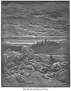 Death of the Sons of Gideon Judges 9:5 From the book 'Bible Gallery' Illustrated by Gustave Dore with Memoir of Dore and Descriptive Letter-press by Talbot W. Chambers D.D. Published by Cassell & Company Limited in London and simultaneously by Mame in Tours, France in 1866
