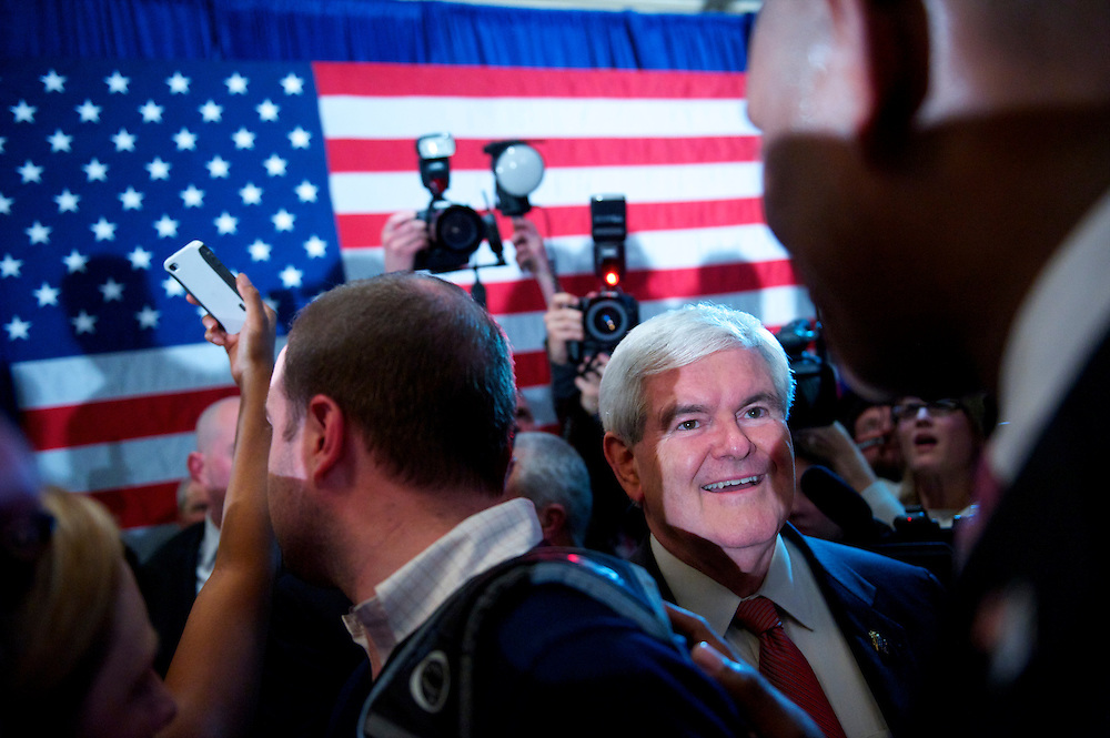 Republican Presidential candidate NEWT GINGRICH delivers a victorious speech at the Hilton after winning the South Carolina primary.