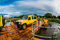 The Paraa car ferry loading and unloading, Murchison Falls National Park, Uganda.