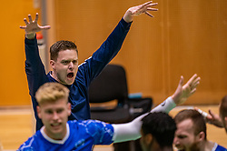 Trainer/coach Arjan Taaij in action during the semi cupfinal between Active Living Orion vs. Amysoft Lycurgus on April 03, 2021 in Saza Topsportshall Doetinchem