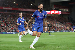 Chelsea's Emerson Palmieri (centre) celebrates scoring his side's first goal of the game with team mates during the Carabao Cup, Third Round match at Anfield, Liverpool.