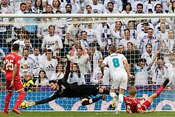 Toni Kroos of Real Madrid scores during the La Liga Santander match between Real Madrid CF and Sevilla FC on December 09, 2017 at the Santiago Bernabeu stadium in Madrid, Spain.