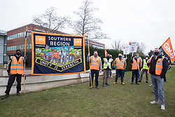 Windsor, UK. 8th March, 2021. GMB members stand on a picket line outside the headquarters of Centrica, owners of British Gas. British Gas engineers and staff belonging to the GMB trade union began another in a series of 'Stop The British Gas Fire' strikes last week after overwhelmingly rejecting an offer by Centrica intended to resolve a dispute regarding rehiring on inferior terms and conditions. Centrica reported an operating profit of £901 million in 2019.
