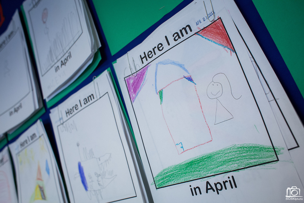 Students' artwork hangs on the wall to show their progress throughout the school year in the transitional kindergarten class at Rose Elementary School in Milpitas, California, on April 5, 2013. (Stan Olszewski/SOSKIphoto)