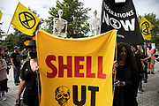 Banner at the Extinction Rebellion 'Shell Out' protest on 8th September 2020 in London, United Kingdom. The environmental group gathered outside the Shell building to protest at the ongoing extraction of fossil fuels and the resulting environmental record. Extinction Rebellion is a climate change group started in 2018 and has gained a huge following of people committed to peaceful protests. These protests are highlighting that the government is not doing enough to avoid catastrophic climate change and to demand the government take radical action to save the planet.