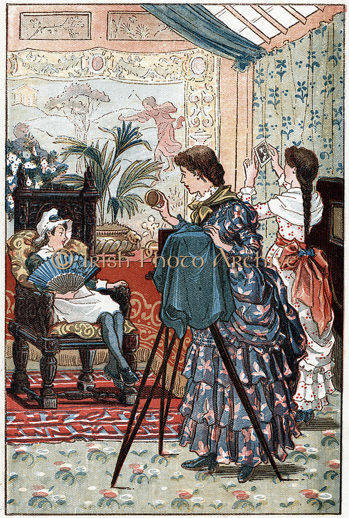 Portrait photography as a fitting career for a young woman. Female photographer taking a child's portrait in her studio. Only natural light used: see skylight at top right of picture.  Illustration from a girls' annual 1884.