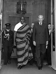 Dec. 21, 1976 - President of Zambia of Visit To Paris M. Kaunda, President of Zambia, Is now on Official Visit to Paris. OPS:- M. Kaunia Pictured WIth Prime Minister Couve De Murville After the Take he Had with him This Morning. (Credit Image: © Keystone Pictures USA/ZUMAPRESS.com)