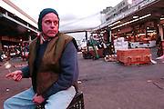 Steve DeLuca who owns the coffee truck for over 26 years and will not be working amongst the fishmongers anymore is seen at the Fulton Fish Market on their last night at the South Street Seaport in Manhattan, NY.  They are moving up to the indoor Hunts Point Cooperative starting next Monday. 11/11/2005 Photo by Jennifer S. Altman