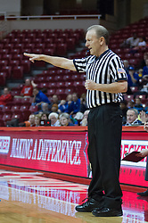 03 January 2014:  Referee Bob Trammel counts time during an NCAA women's basketball game between the Drake Bulldogs and the Illinois Sate Redbirds at Redbird Arena in Normal IL