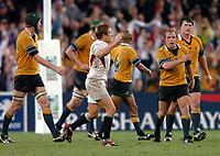 Photo: Richard Lane.<br />Australia v England. Rugby World Cup Final, at the Telstra Stadium, Sydney. RWC 2003. 22/11/2003. <br />Jonny Wilkinson celebrates his match winning drop goal.