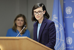 November 20, 2018 - New York, United States - United Nations, New York, November 20 2018 - Actress Millie Bobby Brown briefs press on the importance of empowering children, as part of UNICEFs commemoration of World Children's Day. The briefing also served to announce Brown's appointment as UNICEF's newest (and youngest ever) Goodwill Ambassador today at the UN Headquarters in New York. (Credit Image: © Luiz Rampelotto/NurPhoto via ZUMA Press)