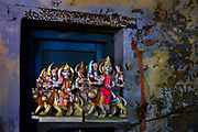 Goddess Durga on her lion in a statue makers shop on 14th January 2018 on the streets of Delhi, India.