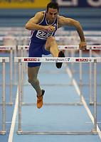Photo: Rich Eaton.<br /> <br /> EAA European Athletics Indoor Championships, Birmingham 2007. 04/03/2007. Romain Barras of France competes in the heptathlon 60m hurdles
