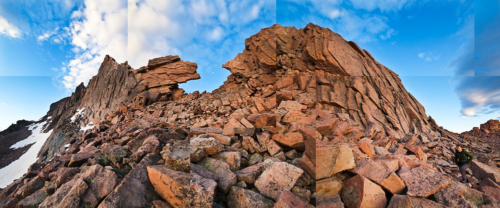 James Meldrum hikes up the Boulder Field towards The Keyhole on Longs Peak, Rocky Mountain National Park, Colorado.