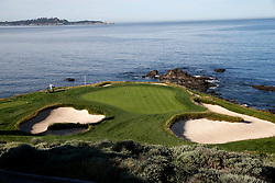 June 11, 2019 - Pebble Beach, CA, U.S. - PEBBLE BEACH, CA - JUNE 11:  A general scenic view of the 7th hole taken during the practice round for the 2019 US Open on June 11, 2019, at Pebble Beach Golf Links in Pebble Beach, CA. (Photo by Brian Spurlock/Icon Sportswire) (Credit Image: © Brian Spurlock/Icon SMI via ZUMA Press)