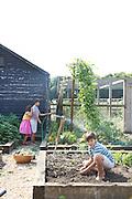 Charlotte, 6, Joseph, 12 and Edward, 12, in their vegetable garden at Hares Farm. CREDIT: Vanessa Berberian for The Wall Street Journal<br /> UKFARM-Hares Farm