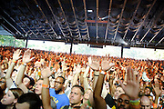 Columbia, MD - August 30th, 2010:  After waiting for over two hours between main stage performances, the Merriweather crowd was ready to let loose. (Photo by Kyle Gustafson/For The Washington Post)