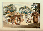 Booshuana village A voyage to Cochinchina, in the years 1792 and 1793. To which is annexed an account of a journey made in the years 1801 and 1802, to the residence of the chief of the Booshuana nation by Sir John Barrow, 1764-1848 Published in London in 1806 by T. Cadell and W. Davies