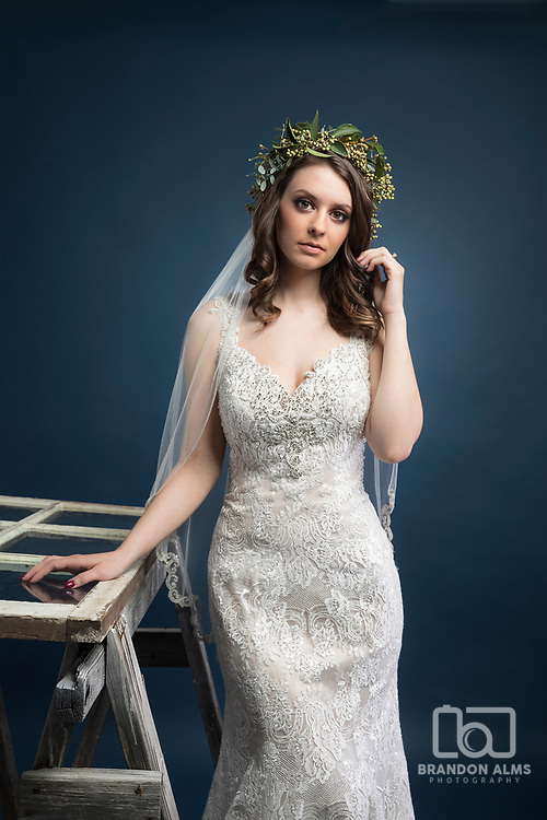 Bride in studio. Cover shot for 417 Bride Magazine.