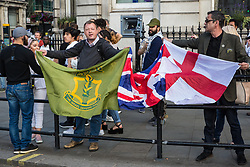 London, UK. 10th June, 2018. Members of far right groups protest against the pro-Palestinian Al Quds Day march through central London organised by the Islamic Human Rights Commission. An international event, it began in Iran in 1979. Quds is the Arabic name for Jerusalem.