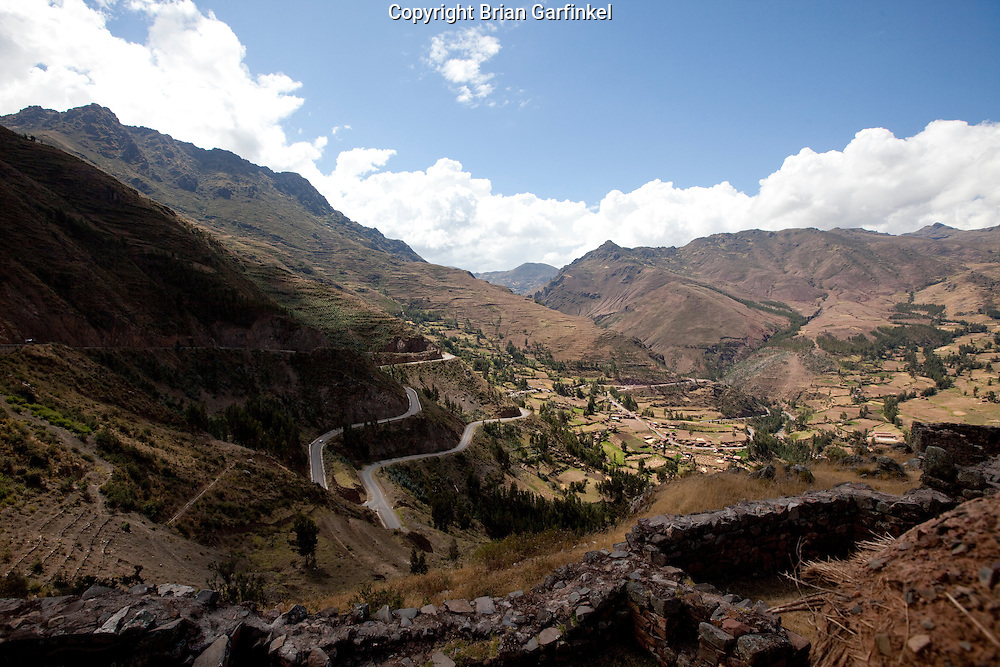A view of the Sacred Valley outside of Cusco Peru