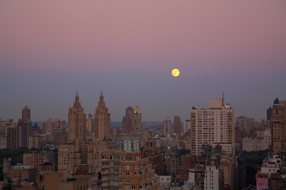 Moonrise over Manhattan viewed from 240 Riverside Boulevard