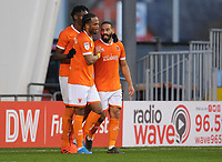 Blackpool's Liam Feeney celebrates scoring his side's fourth goal with team-mates Armand Gnanduillet and Nathan Delfouneso<br /> <br /> Photographer Kevin Barnes/CameraSport<br /> <br /> The EFL Sky Bet Championship - Blackpool v Peterborough United - Saturday 2nd November 2019 - Bloomfield Road - Blackpool<br /> <br /> World Copyright © 2019 CameraSport. All rights reserved. 43 Linden Ave. Countesthorpe. Leicester. England. LE8 5PG - Tel: +44 (0) 116 277 4147 - admin@camerasport.com - www.camerasport.com