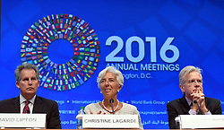 WASHINGTON D.C., Oct. 6, 2016 (Xinhua) -- International Monetary Fund (IMF) Managing Director Christine Lagarde (C) attends a press conference on the coming 2016 Annual Meetings of IMF and World Bank Group in Washington D.C., the United States, Oct. 6, 2016. The IMF and World Bank Annual Meetings are scheduled on October 7-9. (Xinhua/Yin Bogu) (Credit Image: © Yin Bogu/Xinhua via ZUMA Wire)