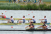 Eton Dorney, Windsor, Great Britain,..2012 London Olympic Regatta, Dorney Lake. Eton Rowing Centre, Berkshire[ Rowing]...Description;   GBR LM4- BowPeter CHAMBERS, Rob WILLIAMS, Richard CHAMBERS, and Chris BARTLEY, racing in the Semi Final A/B 1 at Dorney Lake. 12:40:10  Tuesday  31/07/2012 [Mandatory Credit: Peter Spurrier/Intersport Images]  .