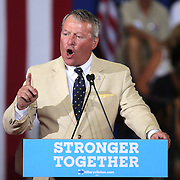 Orlando Mayor Buddy Dyer speaks during a Hillary Clinton campaign stop at the Frontline Outreach Center in Orlando, Fla., on Wednesday, Sept. 21, 2016. (Alex Menendez via AP)
