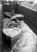 24/06/1959<br /> 06/24/1959<br /> 24 June 1959<br /> Special for Gael Linn -  Lobster Fishing Boats from Carna, Galway arrive at Ringsend, Dublin. Waiting for the water level to change in the last canal lock.