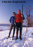 PA landscapes Cross Country Skiers, Susquehanna River, Harrisburg, PA