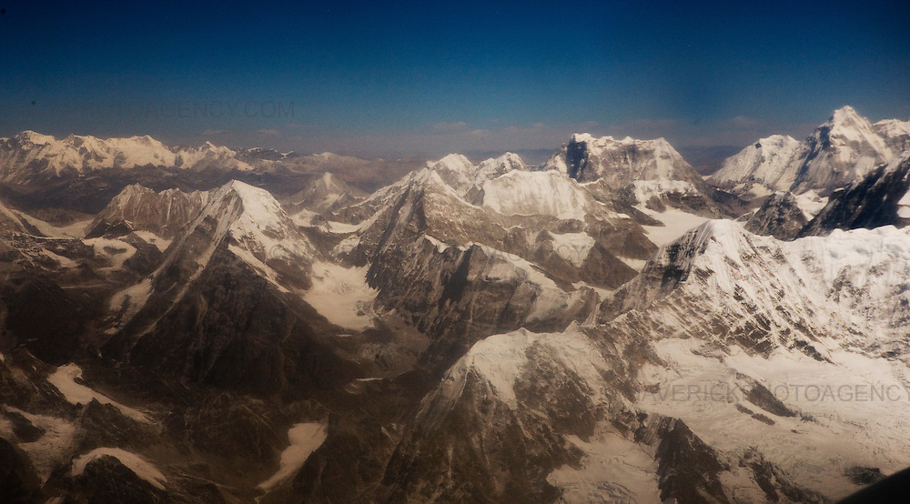 General Views of the Himalayan mountain range  from a plane in Nepal.