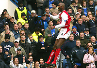 Patrick Vieira (Arsenal) celebrates his goal (Arsenal's 1st). Chelsea v Arsenal. 21/2/04. Credit : Colorsport.