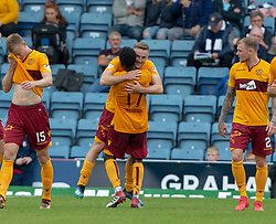 Motherwell's Allan Campbell (8) celebrates after scoring their third goal, with second goal s corer Motherwell's Gael Bigirimana. Dundee 1 v 3 Motherwell, SPFL Ladbrokes Premiership game played 1/9/2018 at Dundee's Kilmac stadium Dens Park