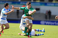 Conor O'Brien of Ireland is held up . .World Rugby U20 Championship 2016,  Semi Final match,  Match 23  , Ireland U20's  v Argentina U20's at the Manchester city Academy Stadium in Manchester, Lancs on Monday 20th June 2016, pic by  Andrew Orchard, Andrew Orchard sports photography.