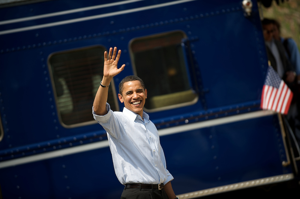 Senator Barack Obama waves to supporters before boarding his train in Paoli, Pennsylvania the weekend before the primary election, where Mr. Obama is locked in a fierce contest with Senator Hillary Rodham Clinton.  The trip across Southeastern Pennsylvania was the first run on a train of the 2008 race, with Mr. Obama heading from Philadelphia to Harrisburg planning many rallies in between.
