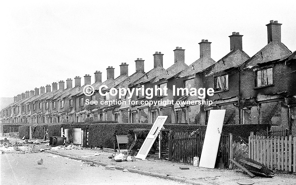 Deserted and devastated - Farringdon Gardens, in the Ardoyne district of Belfast, following post-internment rioting when evacuating Protestants burnt their homes rather than have the possibility of them being taken over by Roman Catholics. 380/71, 197108090380b.<br /> <br /> Copyright Image from Victor Patterson, Belfast, UK<br /> <br /> t: +44 28 9066 1296 (from Rep of Ireland 048 9066 1296)<br /> m: +44 7802 353836<br /> e: victorpattersonbelfast@gmail.com<br /> <br /> www.images4media.com<br /> <br /> Please see my full Terms and Conditions of Use at https://www.images4media.com/p/terms-conditions - it is IMPORTANT that you familiarise yourself with them.<br /> <br /> Images used online incur an additional cost. This cost should be agreed in writing in advance. Online images must be visibly watermarked i.e. © Victor Patterson or that of the named photographer within the body of the image. The original metadata must not be deleted from images used online.<br /> <br /> This image is only available for the use of the download recipient i.e. television station, newspaper, magazine, book publisher, etc, and must not be passed on to a third party. It is also downloaded on condition that each and every usage is notified within 7 days to victorpattersonbelfast@gmail.com.<br /> <br /> The right of Victor Patterson (or the named photographer) to be identified as the author is asserted in accordance with The Copyright Designs And Patents Act (1988). All moral rights are asserted.