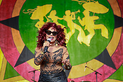 02 May 2014. New Orleans, Louisiana.<br /> Chaka Khan at the New Orleans Jazz and Heritage Festival. <br /> Photo; Charlie Varley/varleypix.com