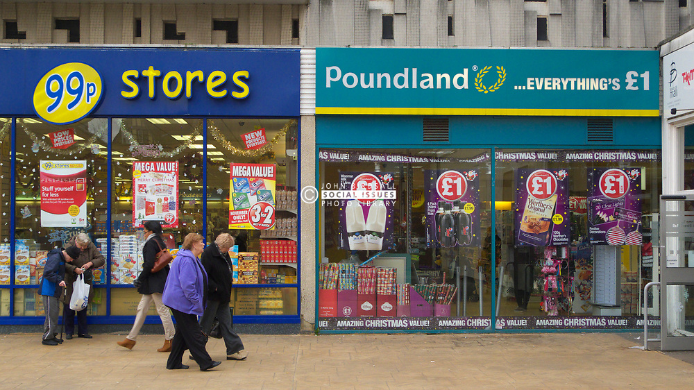 Discount stores Poundland and 99p stores, Reading