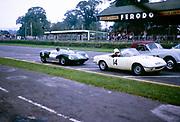 Bill de Selincourt, Lotus Climax car 36 Goodwood Whitsun  Sports race 3 June 1963, car 14 is Mark Konig, Lotus Elan, England, UK