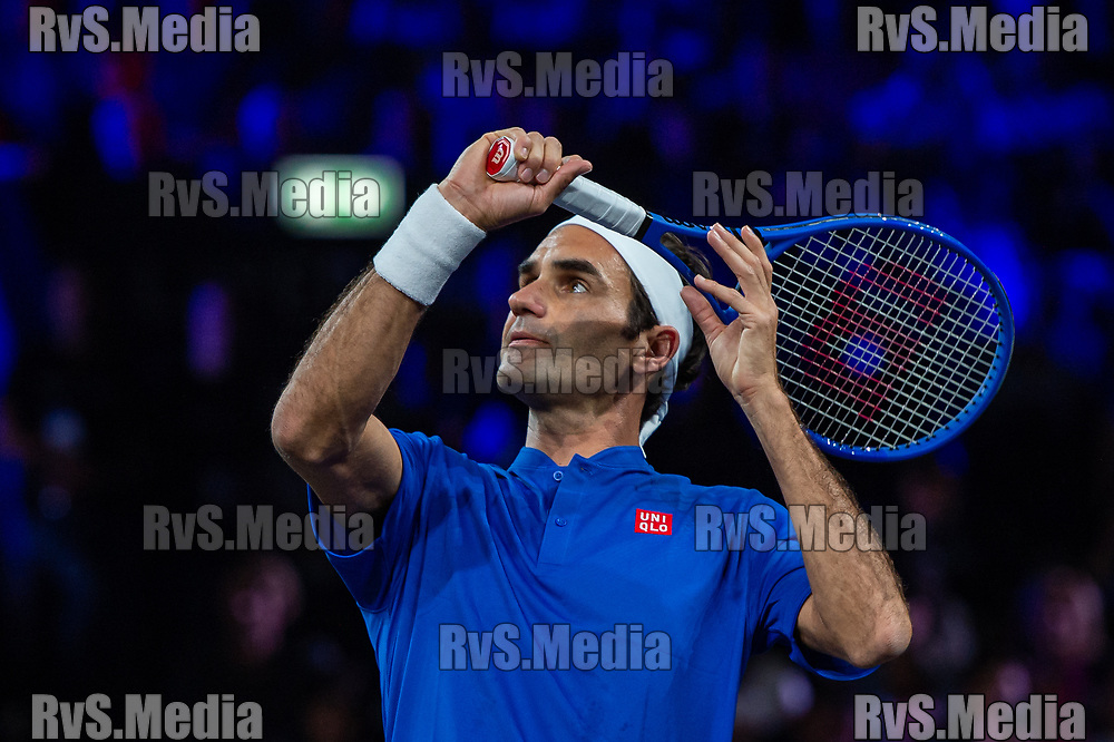 GENEVA, SWITZERLAND - SEPTEMBER 20: Roger Federer of Team Europe in action during Day 1 of the Laver Cup 2019 at Palexpo on September 20, 2019 in Geneva, Switzerland. The Laver Cup will see six players from the rest of the World competing against their counterparts from Europe. Team World is captained by John McEnroe and Team Europe is captained by Bjorn Borg. The tournament runs from September 20-22. (Photo by Monika Majer/RvS.Media)