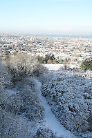 View of Dublin city in the snow from Dalkey Hill Dublin Ireland November 2010